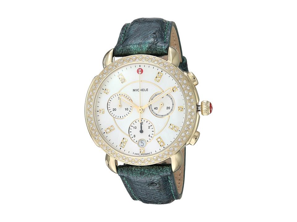 Michele Watches Sidney Diamond Gold Green Ostrich Watch (...