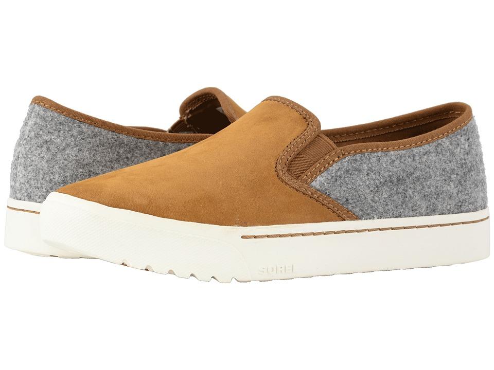 SOREL Campsneaktm Slip (Camel Brown Leather/Felt Combination) Slip-On Shoes