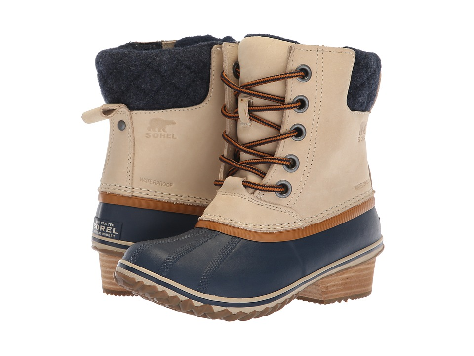 SOREL Slimpack II Lace (Oatmeal/Collegiate Navy Nubuck Leather) Women's Waterproof Boots