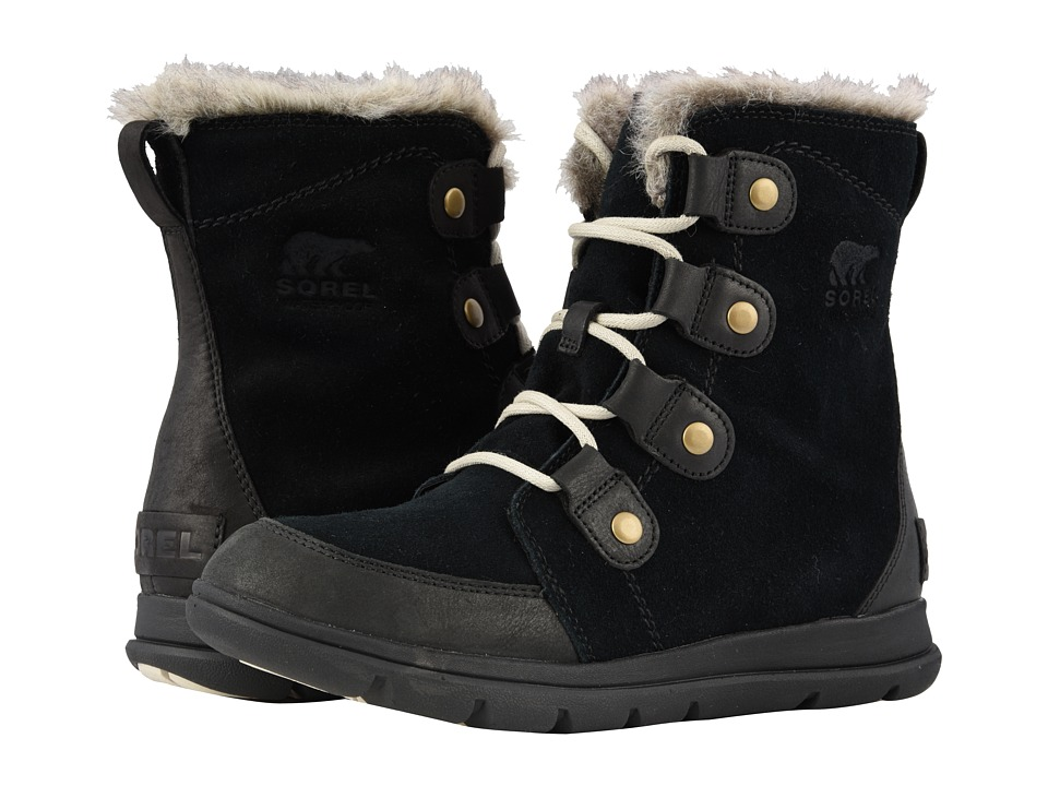 SOREL Explorer Joan (Black/Dark Stone) Women's Lace-up Boots