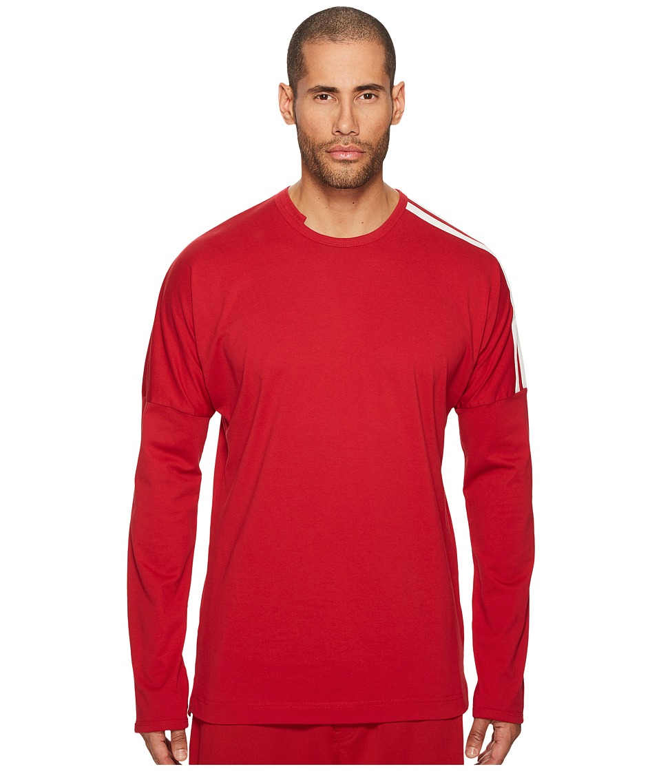 Image of adidas Y-3 by Yohji Yamamoto - 3 Stripes Long Sleeve T-Shirt (Chili Pepper/Core White) Men's T Shirt