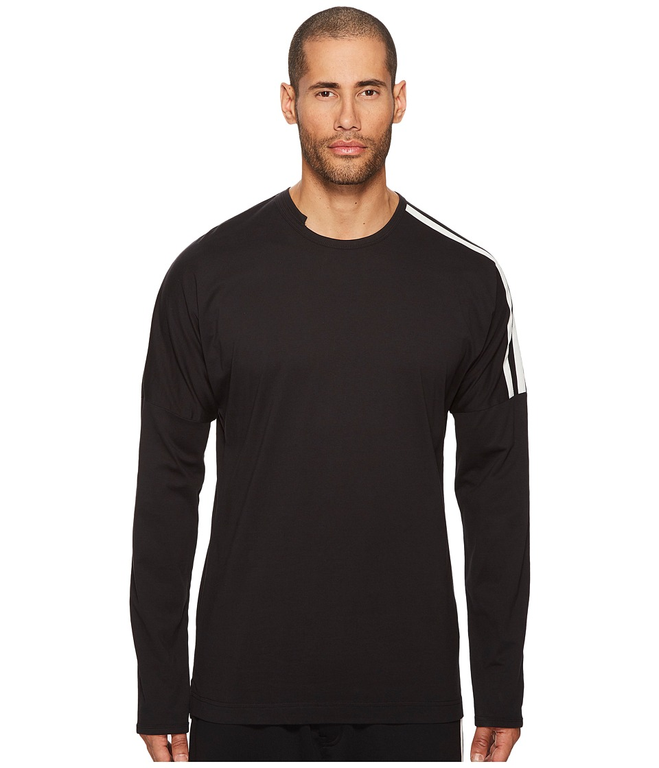 Image of adidas Y-3 by Yohji Yamamoto - 3 Stripes Long Sleeve T-Shirt (Black/Core White) Men's T Shirt