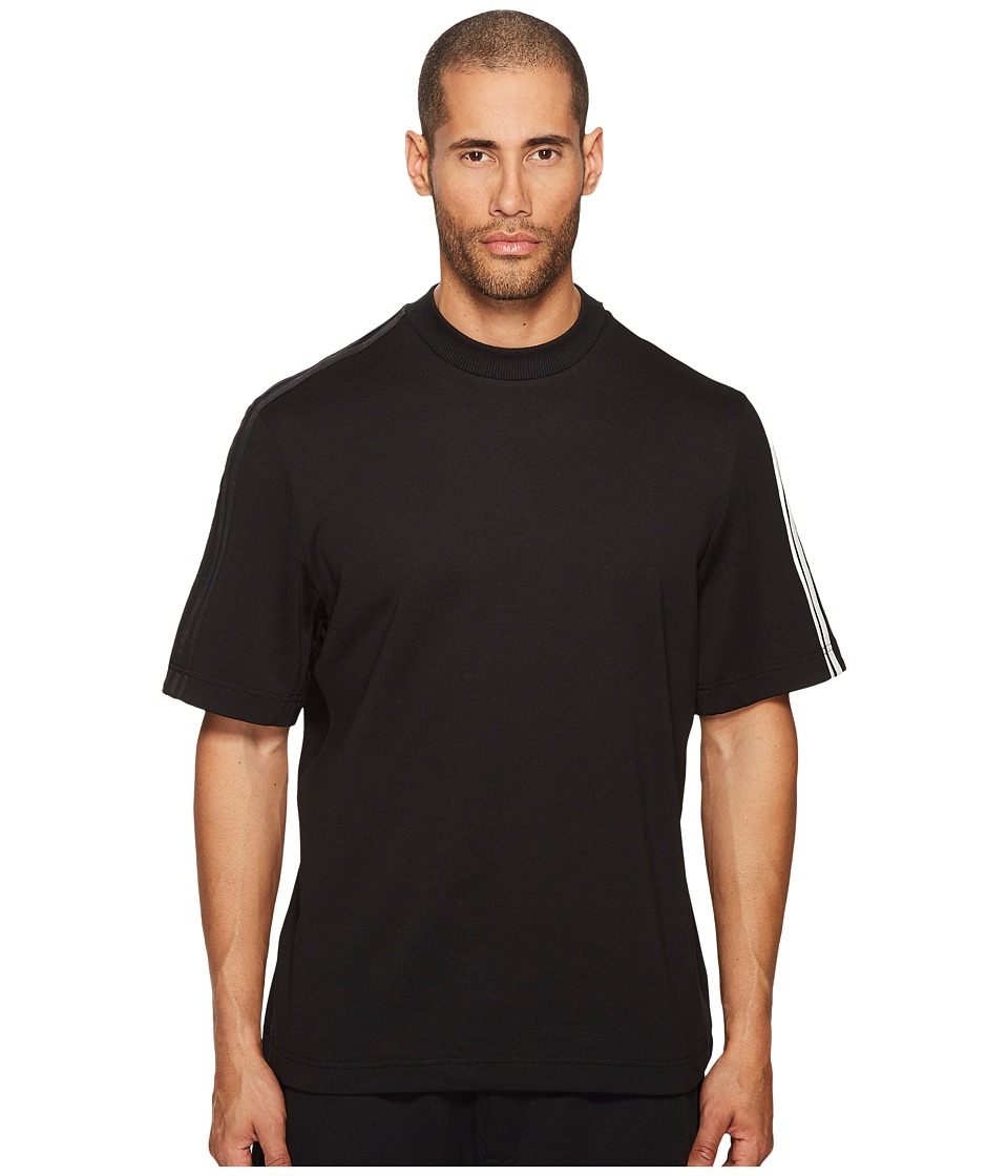 Image of adidas Y-3 by Yohji Yamamoto - 3-Stripes Short Sleeve Tee (Black/Core White) Men's T Shirt