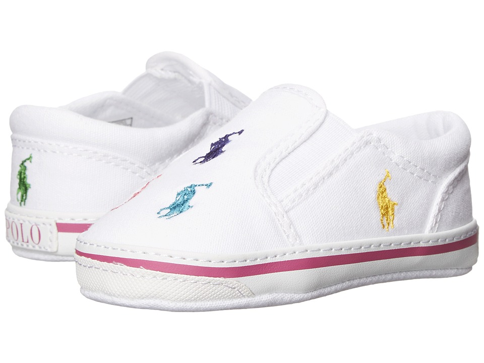 Ralph Lauren Layette Kids Bal Harbour Repeat Soft Sole Infant/Toddler White Multi Canvas Girls Shoes
