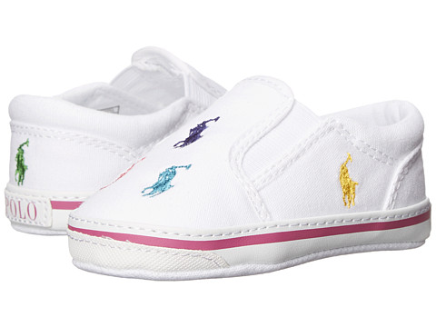 Polo Ralph Lauren Kids Bal Harbour Repeat Soft Sole (Infant/Toddler) - White Multi Canvas