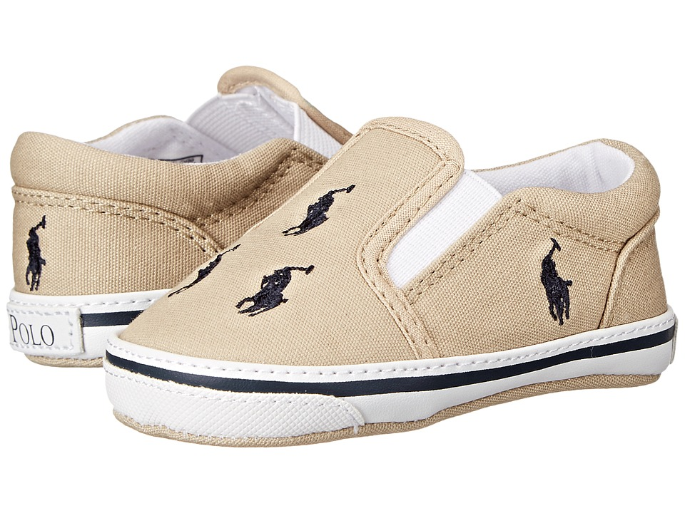Polo Ralph Lauren Kids Bal Harbour Repeat Soft Sole (Infant/Toddler) (Khaki/Navy Canvas) Boy's Shoes