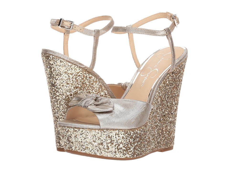 Jessica Simpson - Amella (Shimmer Silver Metallic Shine Fabric) Womens Shoes