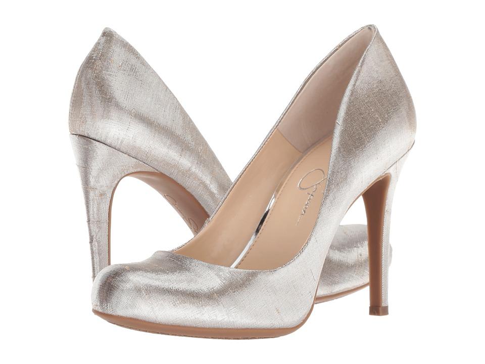 Jessica Simpson Calie (Shimmer Silver Metallic Shine Fabric) High Heels