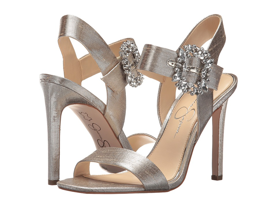 Jessica Simpson Bindy (Shimmer Silver Metallic Shine Fabric) Women