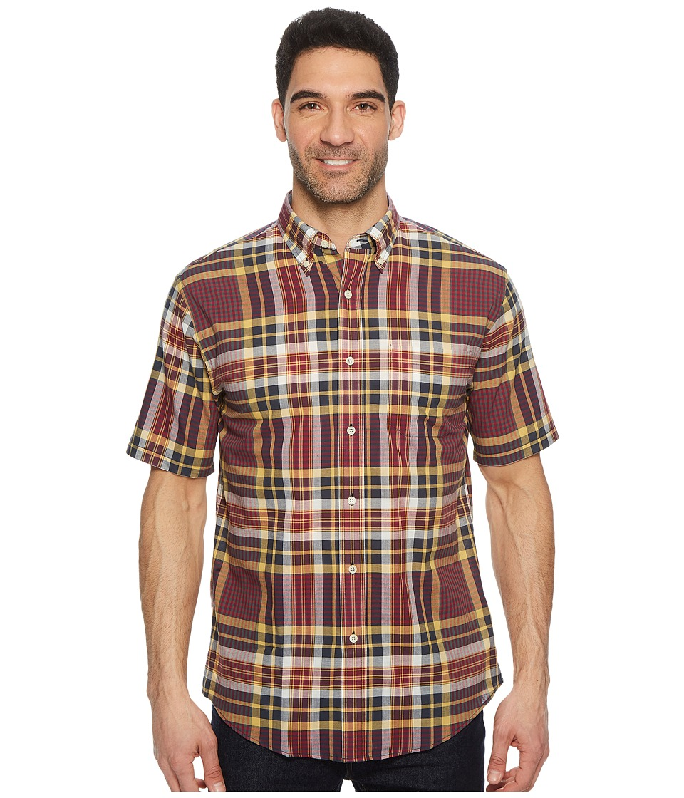 Pendleton - S/S Seaside Button Down Shirt (Plum Navy/Gold Plaid) Mens Short Sleeve Button Up