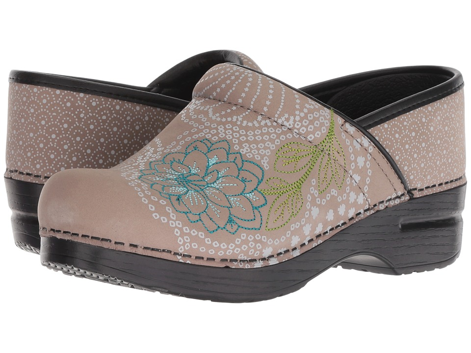 Dansko Embroidered Pro (Taupe Milled Nubuck) Women's Shoes
