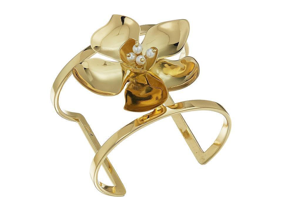 Vince Camuto - Statement Flower T-Cuff Bracelet (Gold) Bracelet