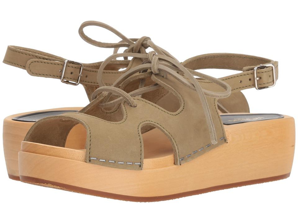Vintage Sandal History: Retro 1920s to 1970s Sandals Swedish Hasbeens Lace-Up Sandal Military Green Nubuck Womens Sandals $209.00 AT vintagedancer.com