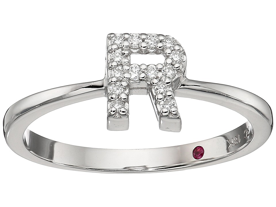Roberto Coin Tiny Treasure Initial R Love Letter Ring (Wh...