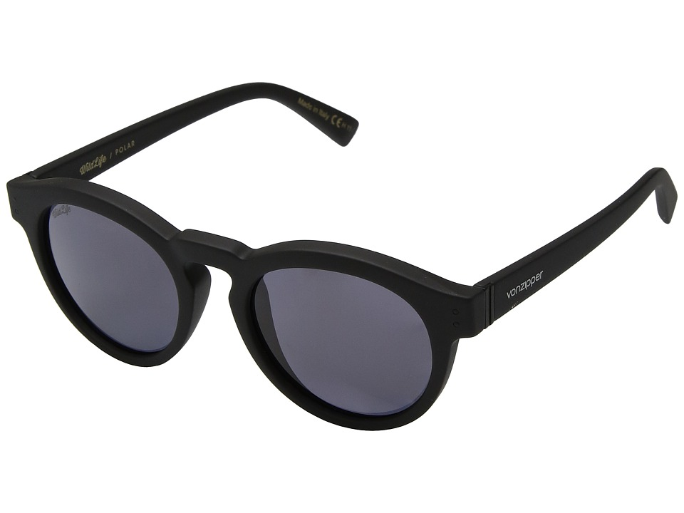 VonZipper Ditty Polar (Black Satin/Wild Vintage Grey Polar) Athletic Performance Sport Sunglasses
