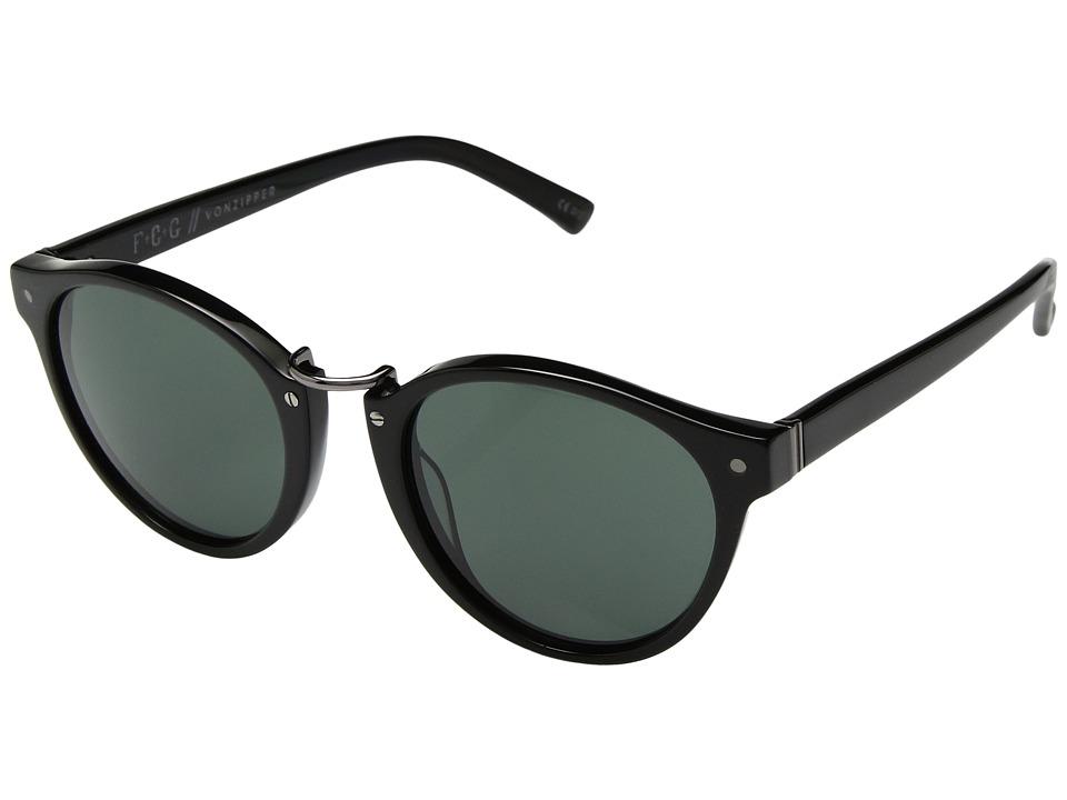 VonZipper Stax (Black Gloss/Vintage Grey) Athletic Performance Sport Sunglasses