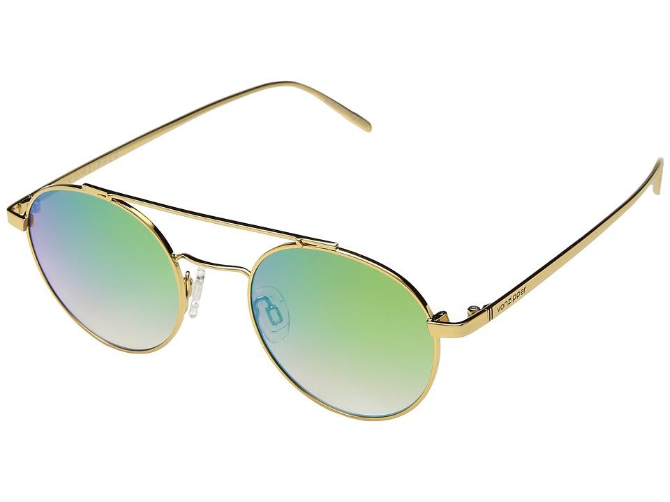 VonZipper Skiffle (Gold/Brown Gradient/Green Chrome) Athletic Performance Sport Sunglasses