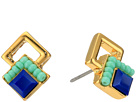Rebecca Minkoff Geo Double Drop Square Stud Earrings