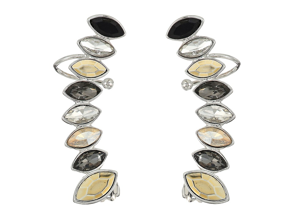 Rebecca Minkoff - Stacked Sparkler Ear Climber Earrings (Black Multi/Silver) Earring