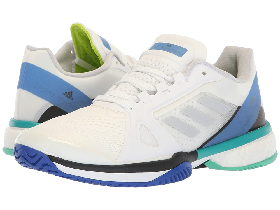 adidas aSMC Barricade Boost (White/Stone/Ray Blue) Women's Tennis Shoes