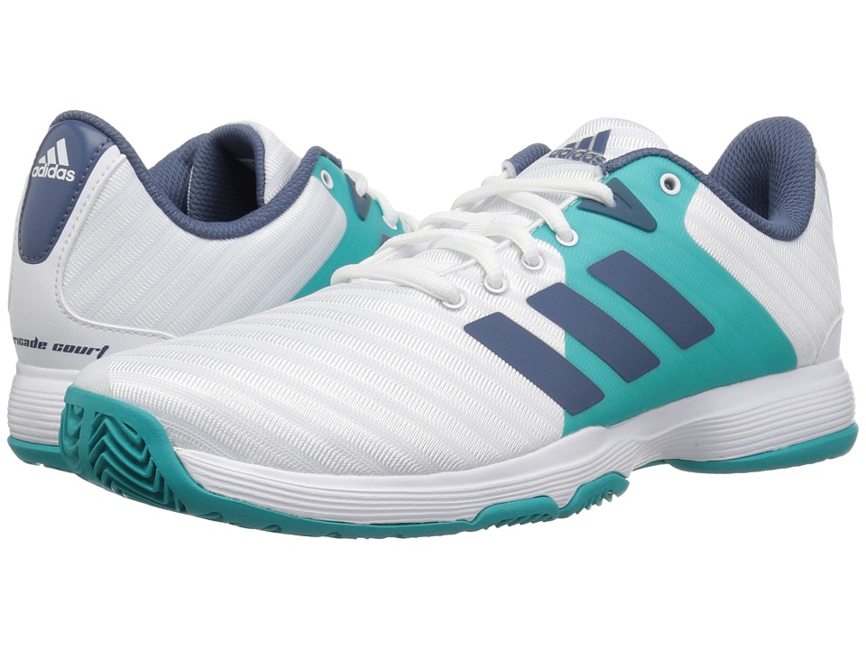 adidas Barricade Court 2 (White/Tech Ink/Hi-Res Aqua) Women's Shoes
