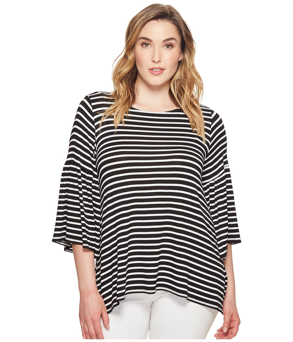 Karen Kane Plus - Plus Size Bell Sleeve Side Slit Top (Stripe) Womens Clothing