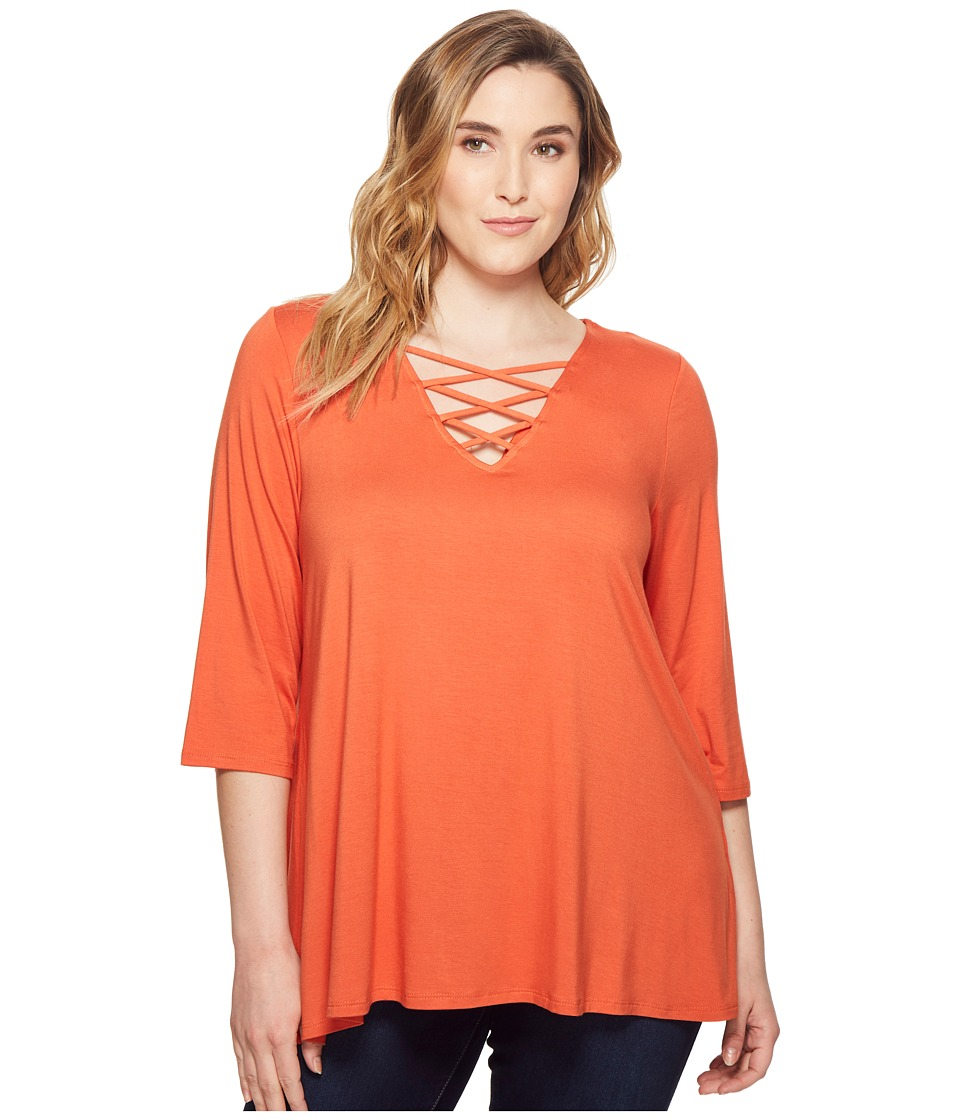 Karen Kane Plus - Plus Size Crisscross Top (Orange) Womens Clothing