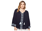 Karen Kane Plus Plus Size Embroidered Double Tassel Top