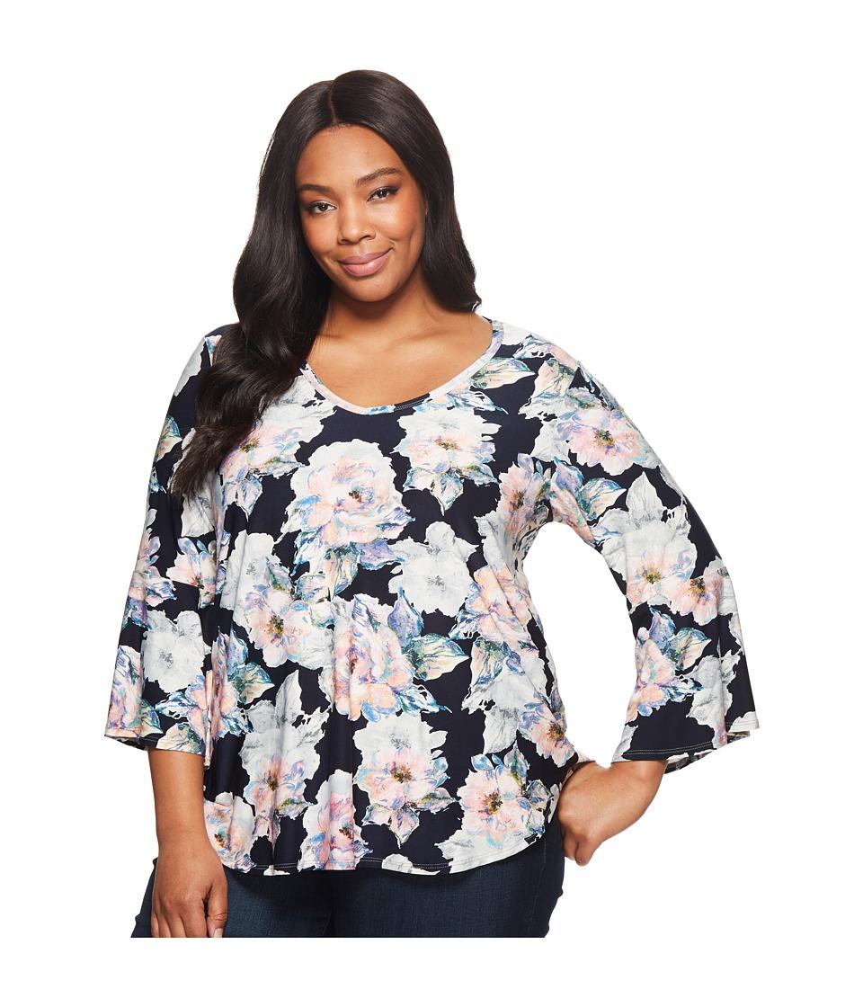 Karen Kane Plus - Plus Size Bell Sleeve Top (Floral) Womens Blouse