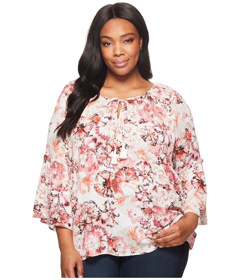 Karen Kane Plus - Plus Size Ruffle Sleeve Top (Rose) Womens Clothing