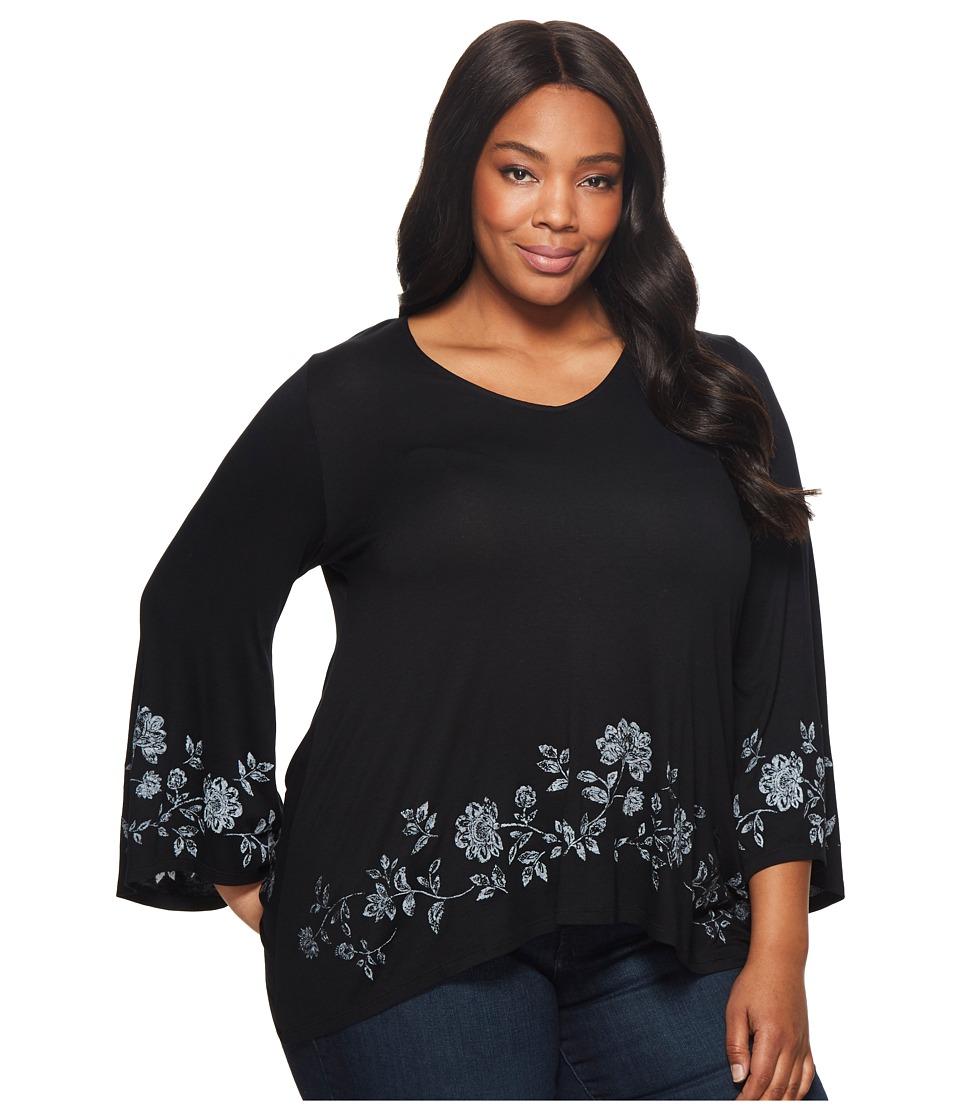 Karen Kane Plus - Plus Size Floral Print Flare Hem Top (Black) Womens Clothing