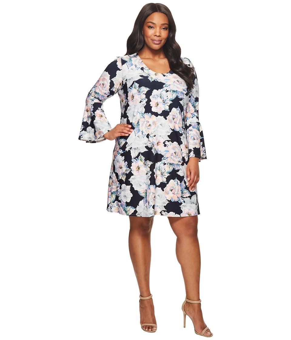 Karen Kane Plus - Plus Size Flare Sleeve Taylor Dress (Floral) Womens Dress