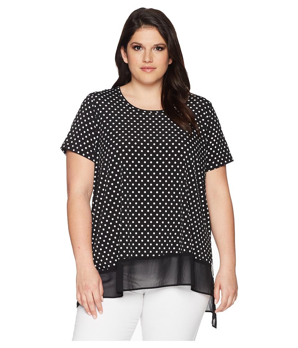 Karen Kane Plus - Plus Size Asymmetric Sheer Hem Top (Dot) Womens Blouse