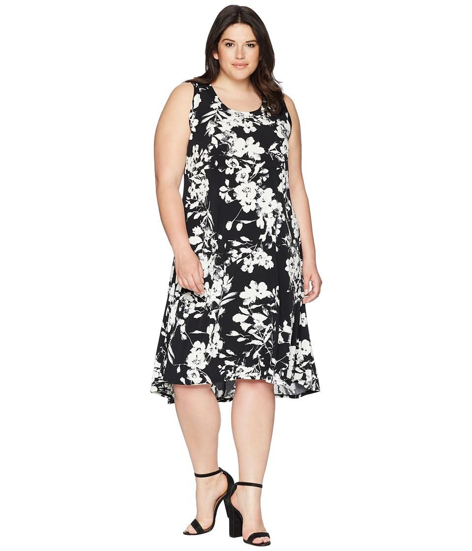Karen Kane Plus - Plus Size High-Low Hem Dress (Black/Off-White) Womens Dress