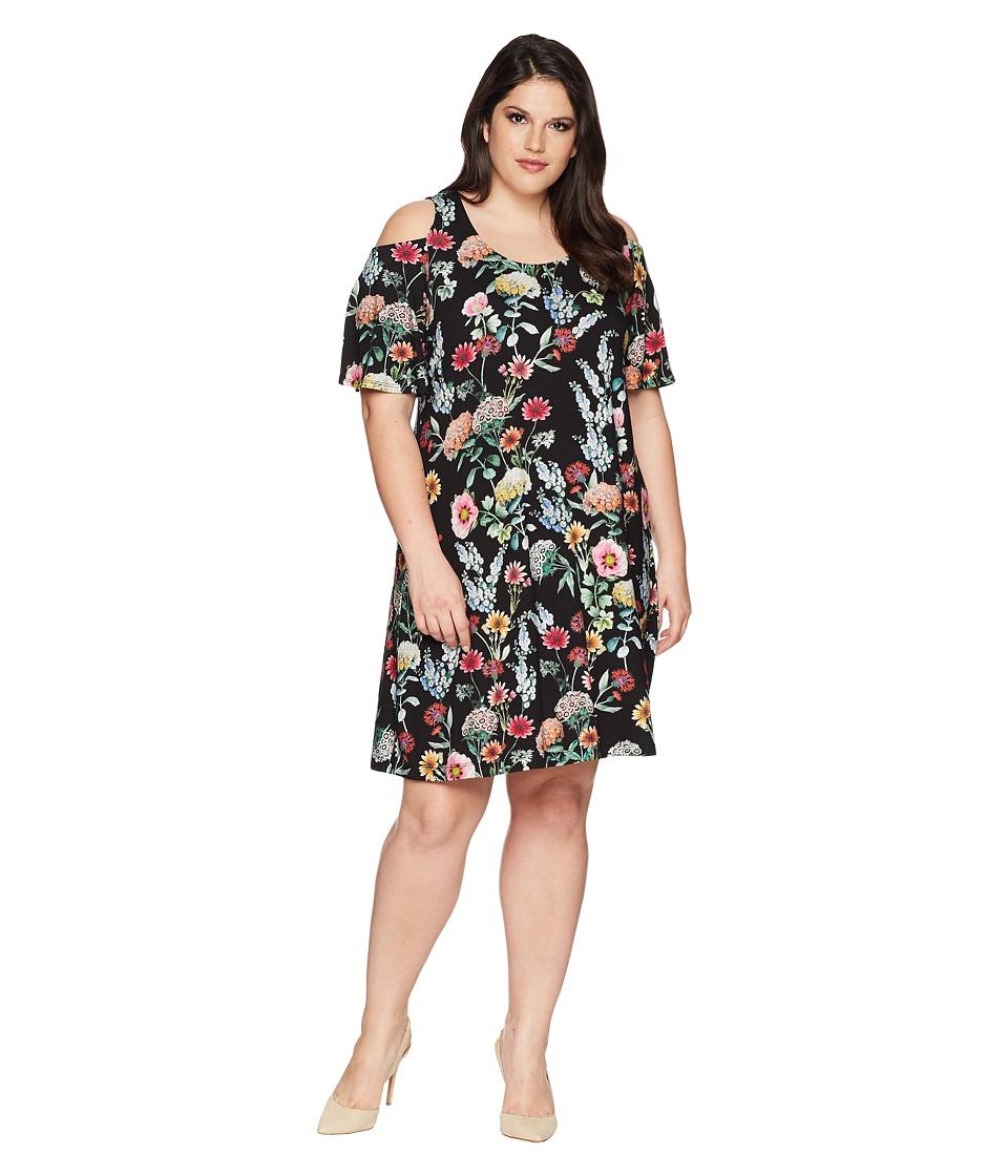 Karen Kane Plus - Plus Size Cold Shoulder Dress (Floral) Womens Dress