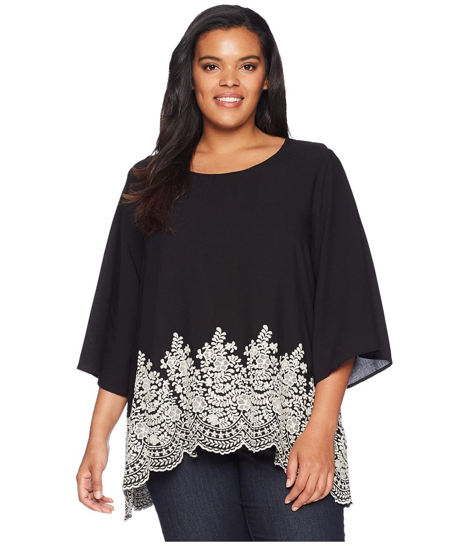 Karen Kane Plus - Plus Size Embroidered 3/4 Sleeve Top (Black) Womens Clothing