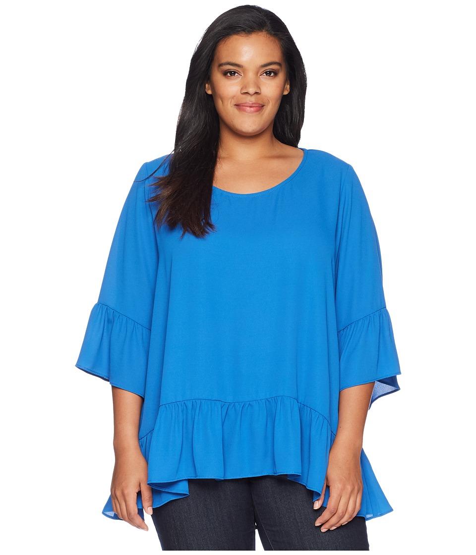 Karen Kane Plus - Plus Size Ruffle Hem Top (Cobalt) Womens Clothing