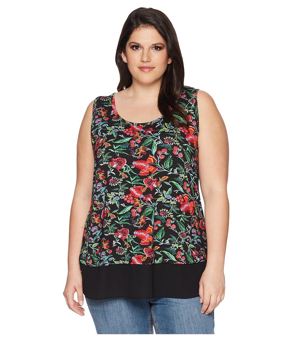 Karen Kane Plus - Plus Size Sheer Hem Tank Top (Print) Womens Sleeveless