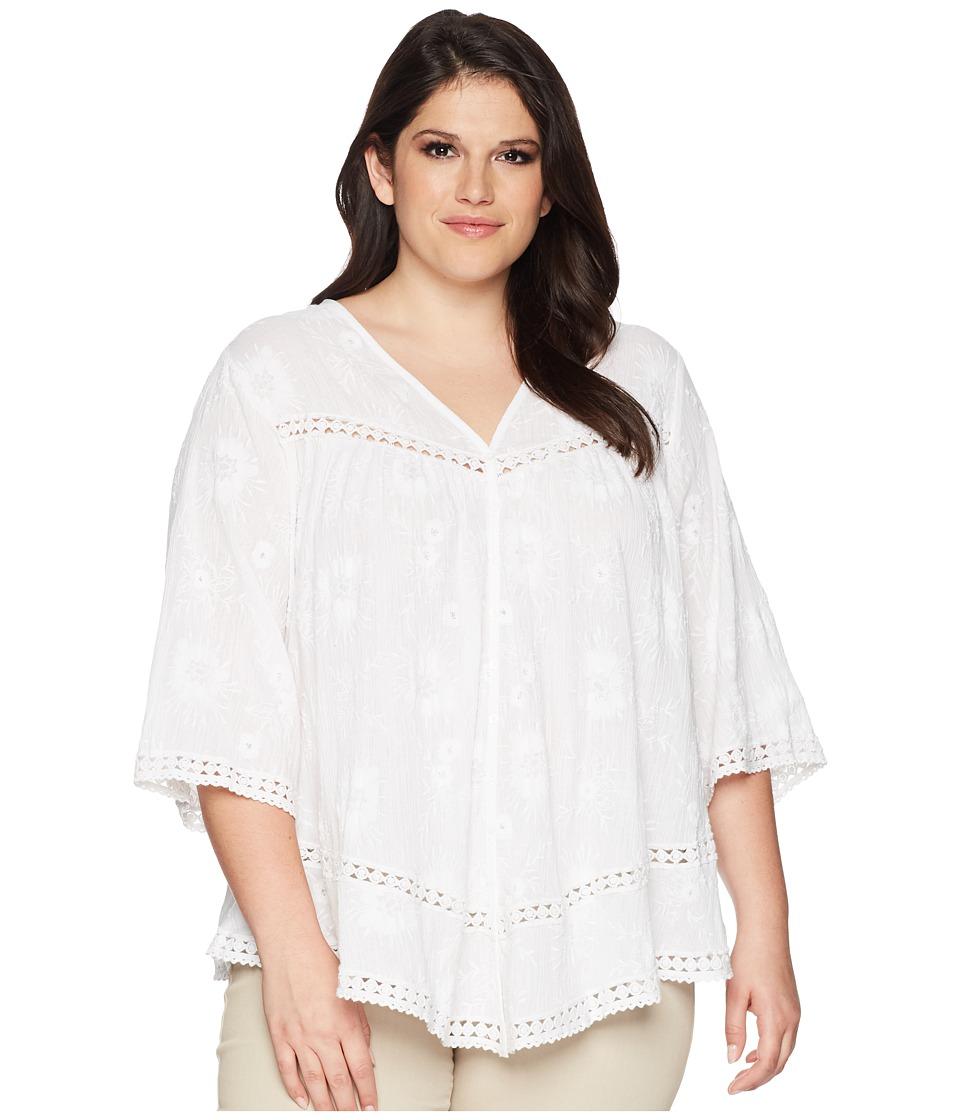 Karen Kane Plus - Plus Size Embroidered Gauze Top (Off-Wh...