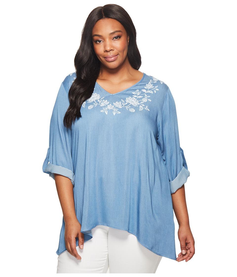 Karen Kane Plus - Plus Size Roll-Tab Handkerchief Top (Light Blue) Womens Short Sleeve Knit
