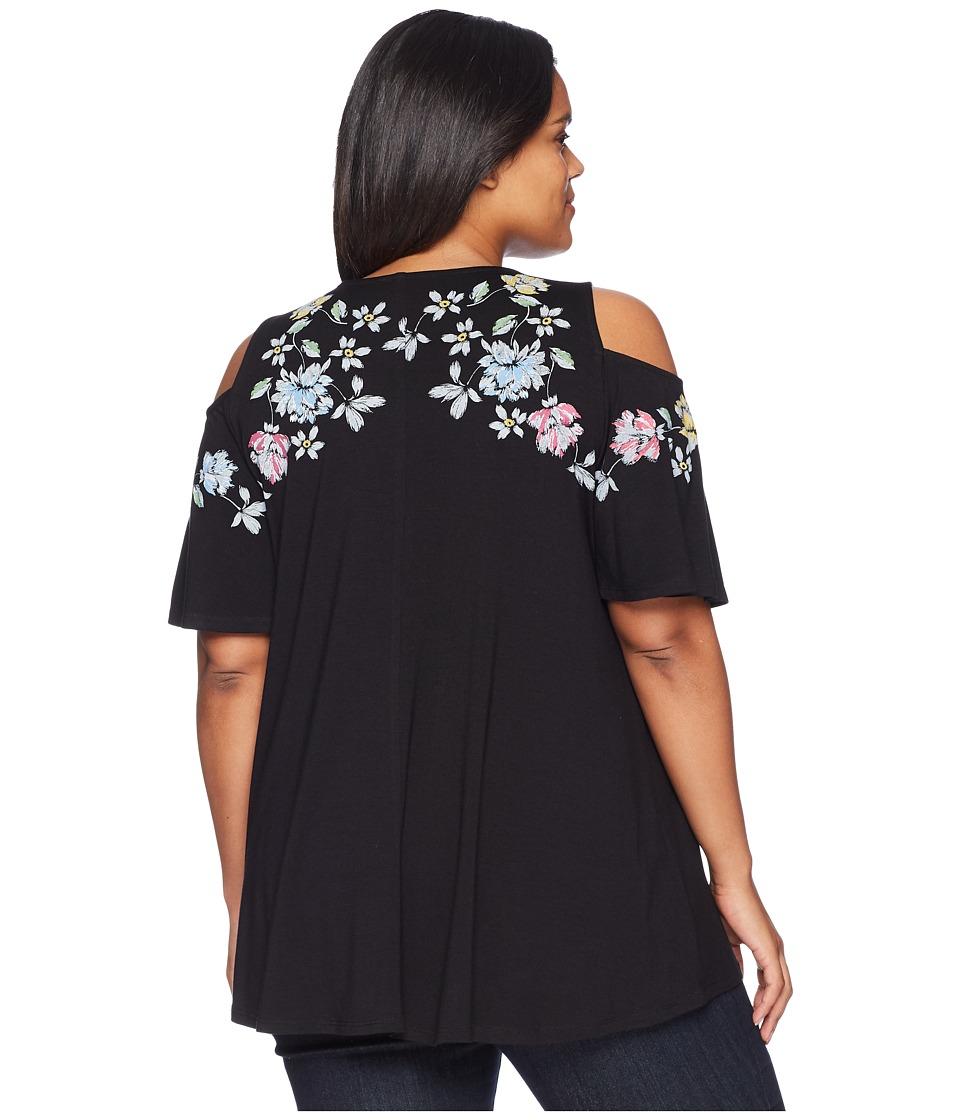 Karen Kane Plus - Plus Size Printed Cold Shoulder Top (Black) Womens Clothing