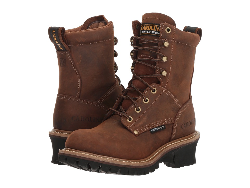 Carolina Elm 8 Waterproof Plain Toe Logger CA435 (Crazy Horse Copper/Leather Upper) Women's Work Boots