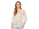 Tribal Floral 3/4 Bell Sleeve Crinkle Chiffon Printed Blouse