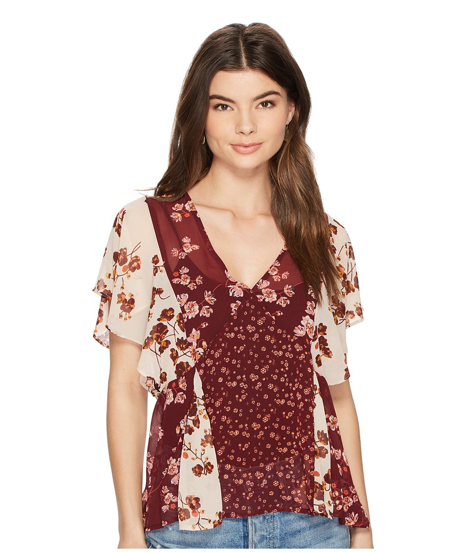 Lucky Brand - Mix Print Floral Top (Burgundy Multi) Womens Short Sleeve Pullover