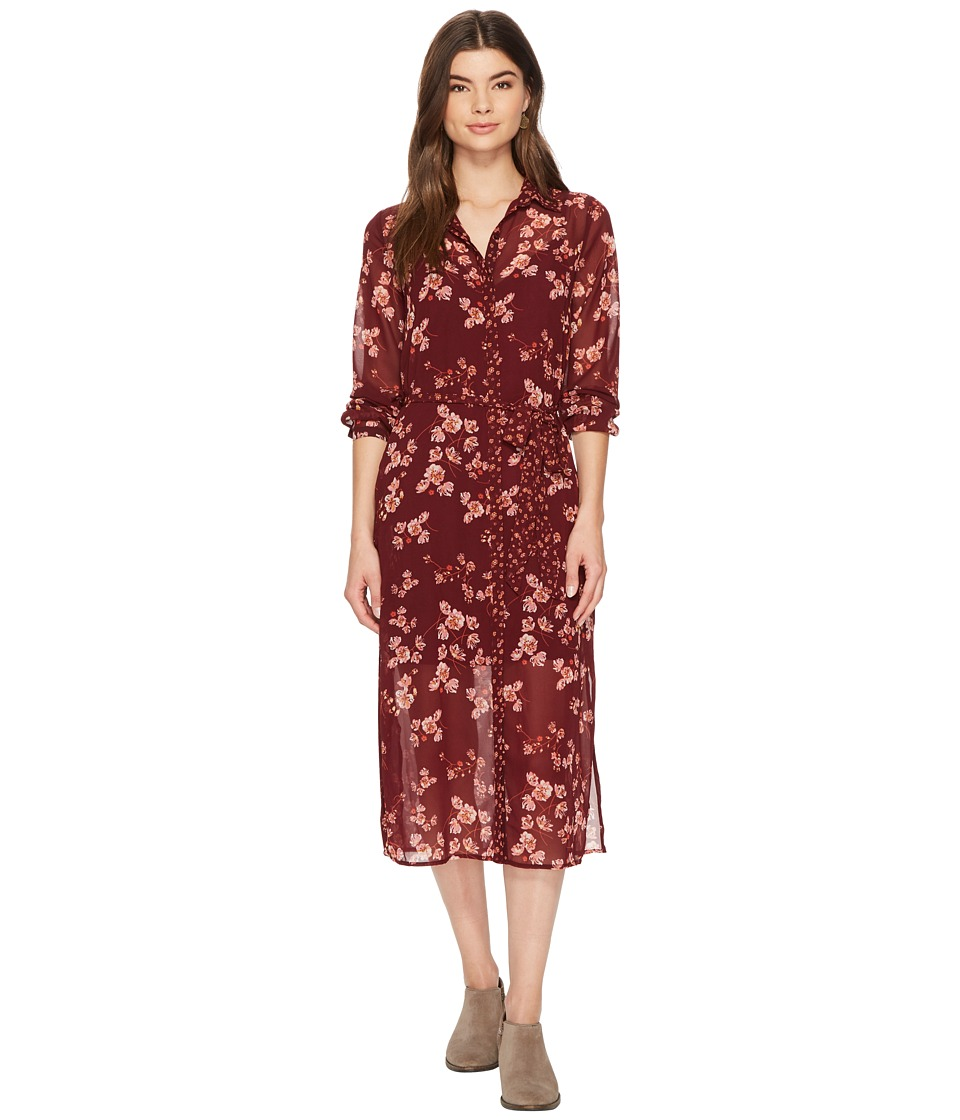 1960s Inspired Fashion: Recreate the Look Lucky Brand - Mixed Print Emily Dress Burgundy Multi Womens Dress $119.00 AT vintagedancer.com