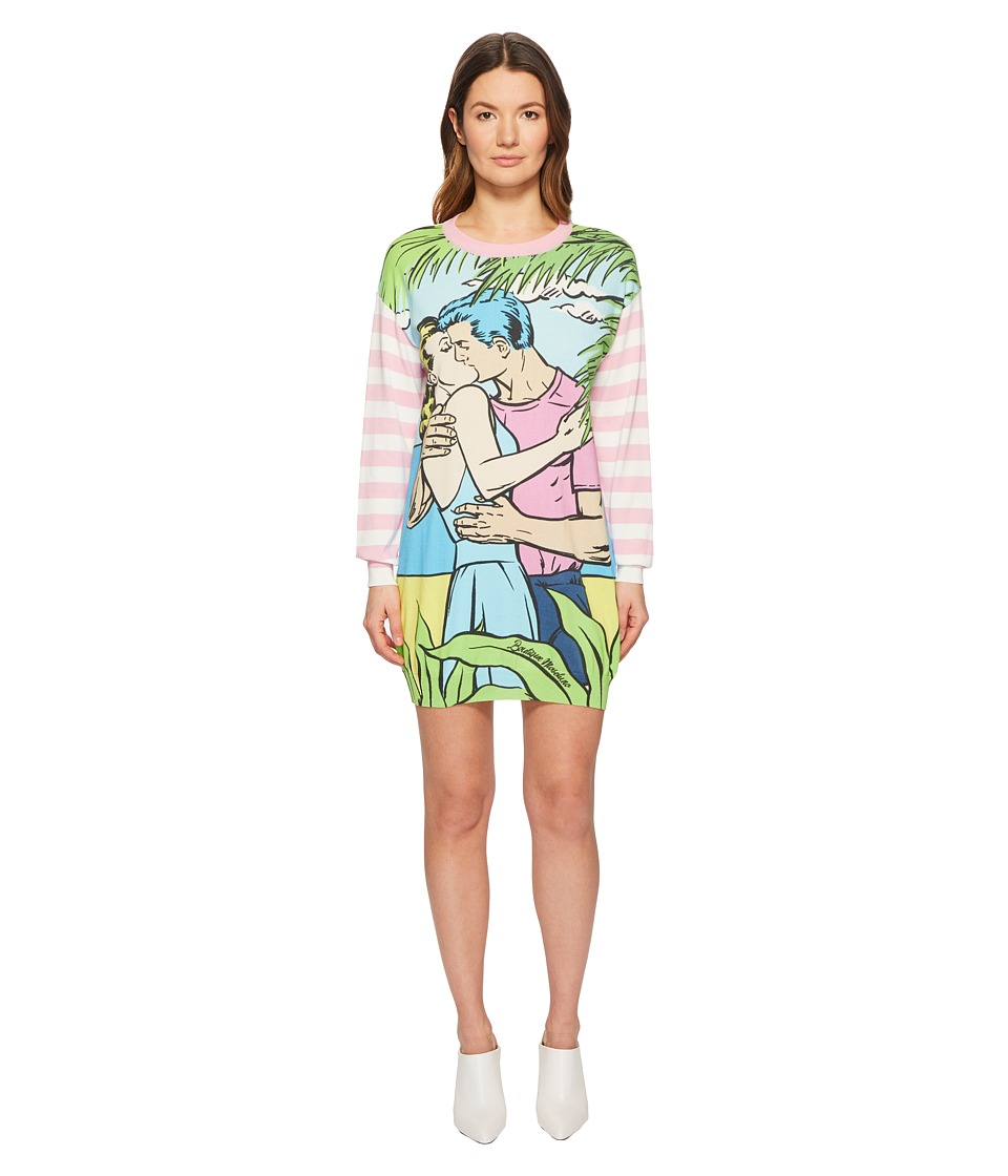 Boutique Moschino - Moschino Kiss Print Sweater Dress (Fantasy Print Violet) Womens Dress