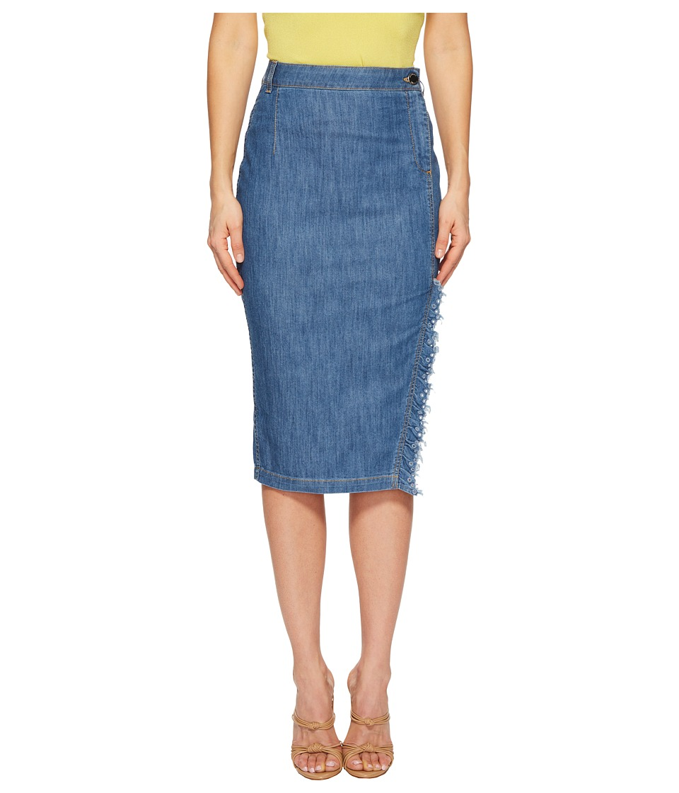 Boutique Moschino - Skirt with Side Slit and Denim Fringe (Denim) Womens Skirt