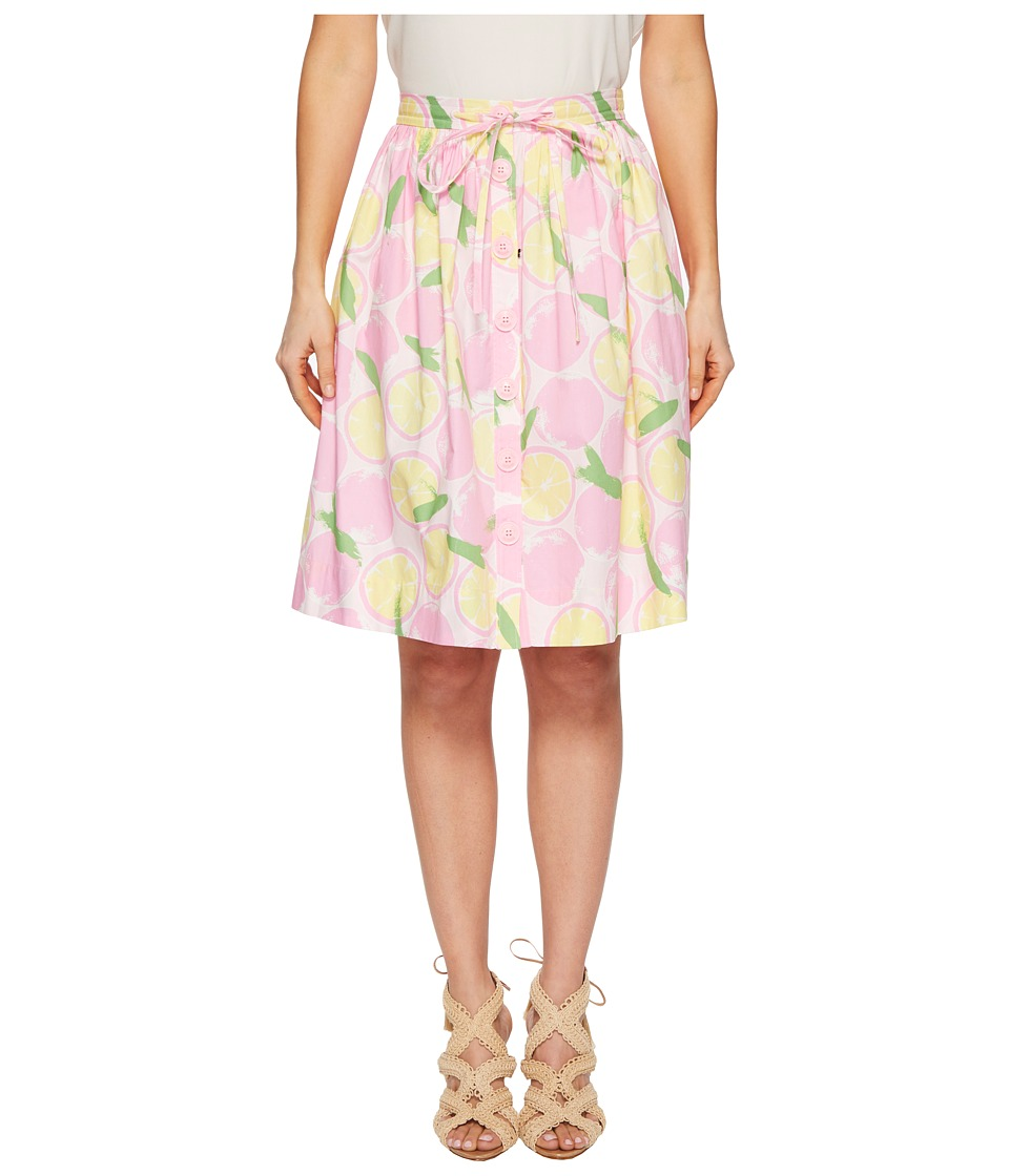 Boutique Moschino - Lemon Print Knee-Length Skirt (Fantasy Print Pink) Womens Skirt
