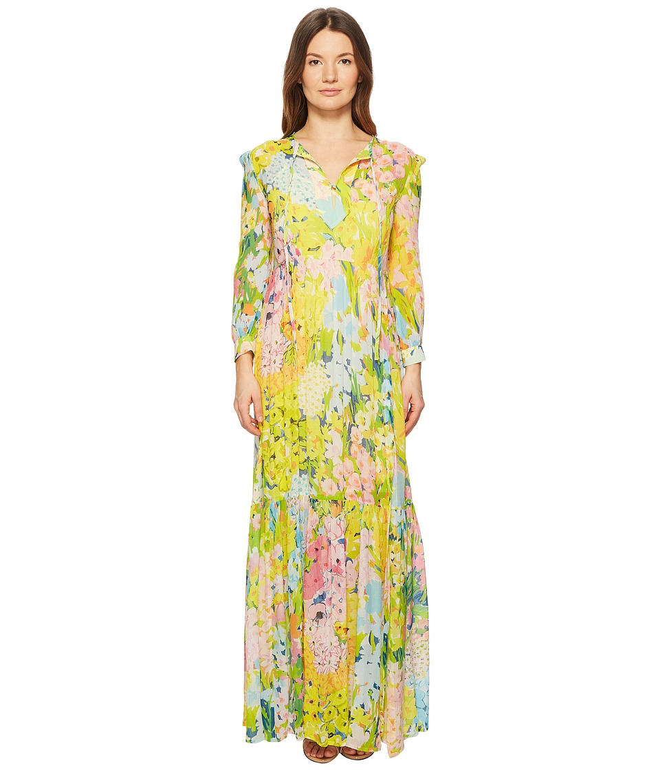 Boutique Moschino - Flower Printed Creponne Maxi Dress (Fantasy Print Yellow) Womens Dress
