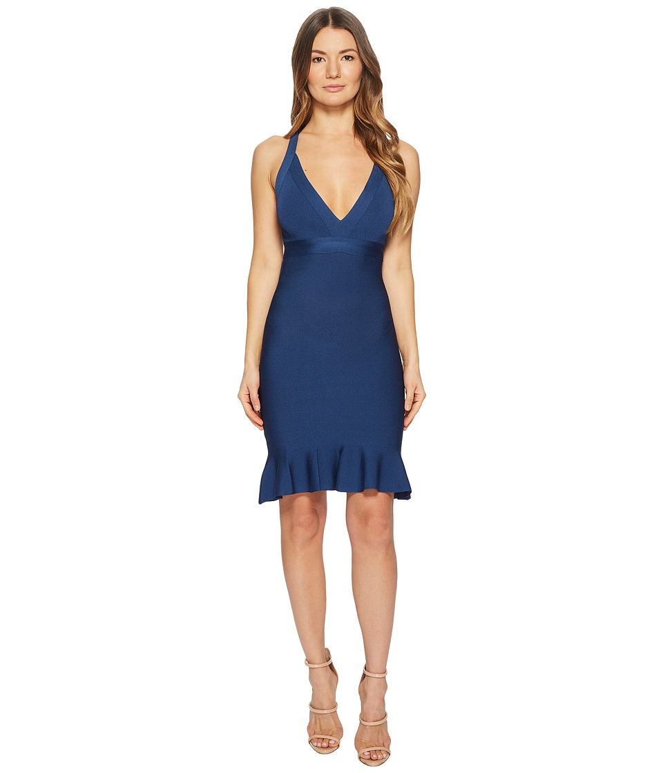 Boutique Moschino - Stretch Viscose V-Neck Dress (Blue) Womens Dress